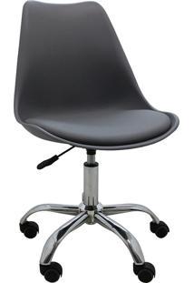 Cadeira De Escritório Rodízio Cromada Luisa-Rivatti - Cinza