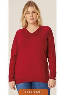 Blusão Vermelho Feminino Em Tricô Decote V