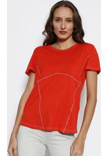 Camiseta Com Pespontos- Laranja Escuro & Brancaforum