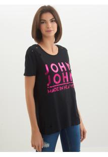 Camiseta John John Logo Black Malha Preto Feminina (Preto, Gg)