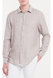 Camisa Regular Cannes Linen - Caqui Claro - 1