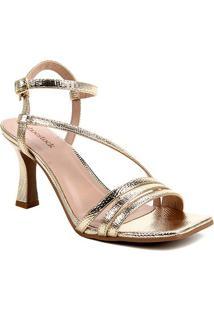 Sandália Shoestock Salto Sino Tiras Feminina - Feminino-Dourado