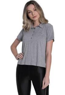 Camisa Polo Polo Osmoze Feminina - Feminino-Cinza