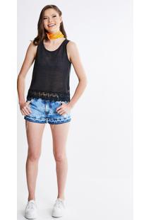 Short Cintura Baixa Em Jeans Marmorizado Com Puídos