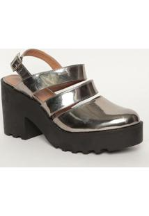 Sapato Meia Pata Tratorado- Prateado & Preto- Salto:Mya Haas