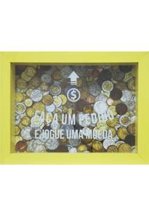 Quadro Cofre Moedas Amarelo 13X18Cm