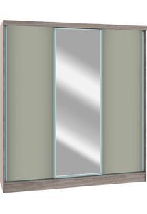 Guarda-Roupa 3 Portas Castro Requinte 6250M Com Espelho Amendoa Gris Se