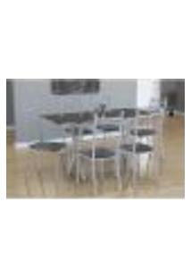 Conjunto De Mesa Miame 150 Cm Com 6 Cadeiras Lisboa Branco E Mesclado Petróleo