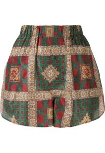 Etro Check Print Shorts - Verde