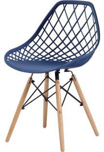 Cadeira Veneza Azul Base Madeira 80Cm - 62589 - Sun House