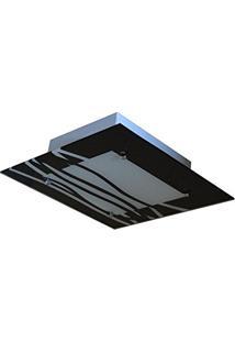 Lustre Plafon Para Sala / Cozinha / Banheiro /Quarto 30Cm X 30Cm - Ondas Pretas