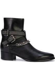 Amiri Ankle Boot Com Detalhe De Corrente - Preto