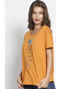 "Camiseta ""Calma E Paz"" - Laranja & Azul - Sommersommer"
