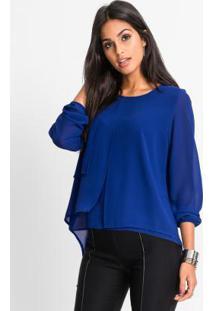 bbe1e2bc09 Blusa Bonprix Jeans feminina. Blusa Em Camadas Azul