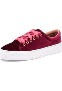 Tênis Top Franca Shoes Aveludado Bordo