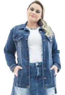Jaqueta Jeans Feminina Over Alongada Plus Size