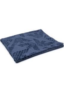 Emporio Armani Toalha De Banho Com Estampa Monogramada - Azul