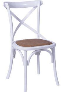 Cadeira Cross- Branca & Bege- 89X55X49Cm- Or Desor Design