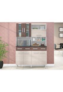 Cozinha 7 Portas Melissa Amêndoa/Capuccino - Lc Móveis