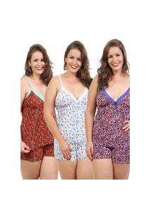 Kit 3 Baby Doll Isa Lingerie Liganete Pijama Estampado Multicolorido