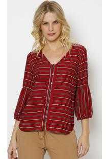 Blusa Listrada Com Botãµes- Vermelho Escuro & Preta- Vip Reserva