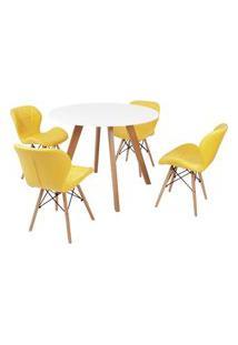 Mesa Inês 100Cm Branca + 4 Cadeiras Eiffel Slim - Amarela