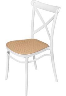 Cadeira Katrina Em Polipropileno Branco E Palha - 61961 - Sun House