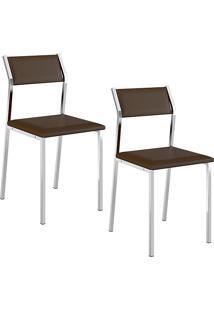 Kit Com 2 Cadeiras Sofia Cromada Napa Cacau - Carraro