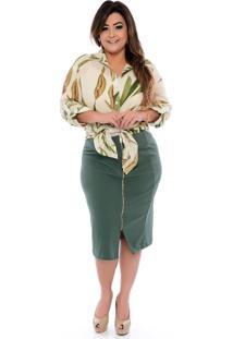 Roupas Plus Size Domenica Solazzo Camisas Verde - Kanui