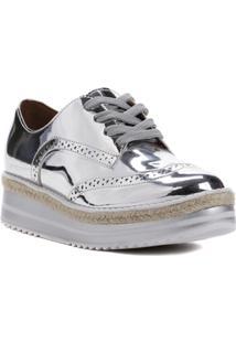 898b5f26d3 ... Sapato Oxford Feminino Vizzano Prata Branco - Feminino-Prata+Branco