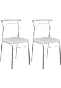 Cadeira Carraro 1708 Aço Cromada (2 Unidades) Crom/Branco