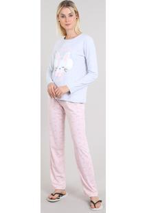 Pijama Feminino Estampado Manga Longa Cinza