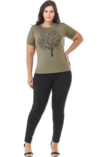T-Shirt Plus Size Maria Do Ingá Verde Militar