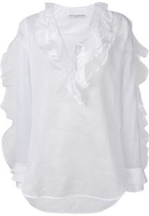 Ermanno Scervino Frilled Longsleeved Blouse - Branco