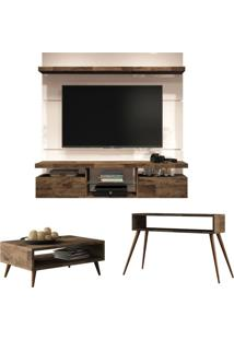Painel Tv Livin 1.6 Com Mesa De Centro Lucy E Aparador Quad Deck/Off White - Hb Móveis