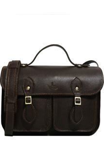 Bolsa Line Store Leather Satchel Pockets Pequena Couro Marrom Escuro