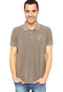 Camisa Polo Cavalera Estampa Marrom