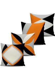 Kit 4 Capas Almofadas Decorativas Abstrata Laranja 45X45Cm - Multicolorido - Dafiti