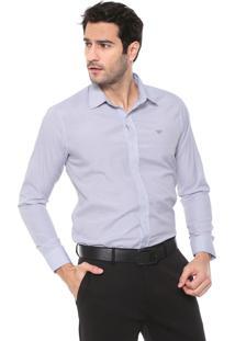 Camisa Colombo Reta Listrada Cinza/Off-White