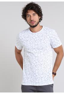 Camiseta Masculina Estampada Geométrica Manga Curta Gola Careca Off White