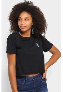 Blusa Cropped Calvin Klein Logo Mirror Feminina - Feminino-Preto