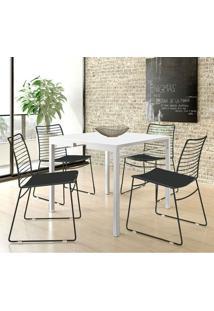 Mesa 1525 Branca Com 4 Cadeiras 1712 Color Uv Preta Carraro