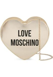 Love Moschino Heart-Shaped Logo Shoulder Bag - Dourado