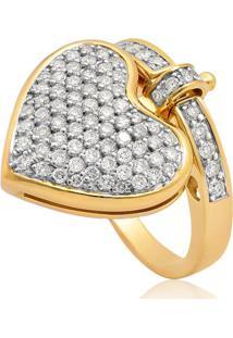 Anel De Ouro 18K Coração E Aro Com Pavê De Diamantes Rodinados-Coleção My Heart