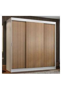 Guarda-Roupa Casal Madesa Reno 3 Portas De Correr Branco/Rustic Cor:Branco/Rustic