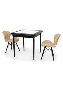 Conjunto Mesa De Jantar Em Madeira Preto Prime Com Azulejo + 2 Cadeiras Slim - Nude