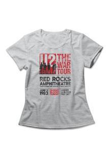 Camiseta Feminina U2 War Tour Cinza