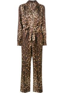 Dolce & Gabbana Macacão Com Estampa Leopardo - Marrom