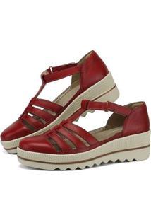 Sandália Plataforma Em Couro Sapatofran Com Velcro Feminina - Feminino-Vermelho