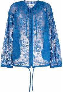 Kenzo Jaqueta Com Capuz E Detalhe De Renda - Azul